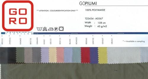 Tkanina na kurtki puchowe GOPIUMI Próbnik kolorów